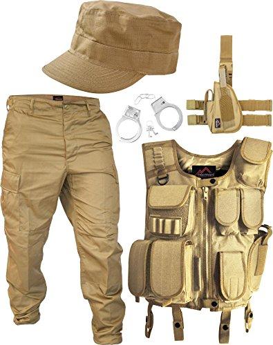 normani SWAT Kostüm Coyote bestehend aus Weste, Hose, Pistolenholster, Cap und Handschellen Größe XL