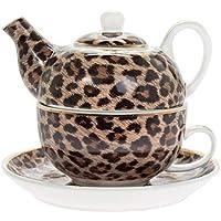 Wildside - Juego de tetera, taza y platillo, diseño de leopardo