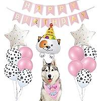 ETLEE - Pañuelos de Fiesta de cumpleaños para Perro, con Globos de Huellas y Pancarta