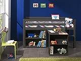 Vipack 'Autobett picohsbubi15Pino Hochbett mit Schreibtisch und Bibliothek Kiefer massiv Taupe