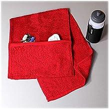 Toalla de gimnasio de lujo Aztex con compartimento con cremallera, 100% algodón rojo