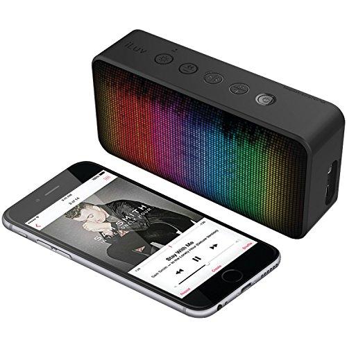 ILUV AUD Mini 6 Party BT Lautsprecher mit Freisprecheinrichtung, Multicolor LED Display mit 7 pulsierenden Licht-Themen, AUX-In Iluv Mini-mp3