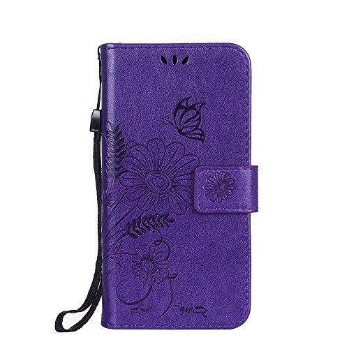 Horizontale Bookstyle Flip Case Premium PU Ledertasche, Solid Color Embossed Blumen Schutzhülle Tasche Tasche mit Lanyard & Stand für Samsung Galaxy A310 ( Color : Rose gold ) Modena