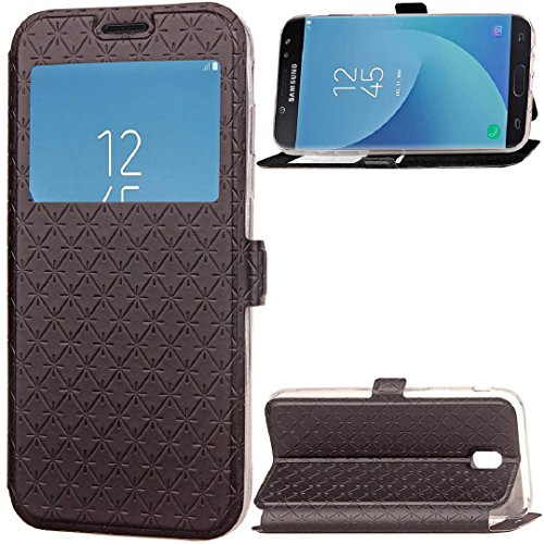 TAITOU Galaxy 2017 J7 Pro J730 Movie Stand Case, Shiny Big View Window PU Leather Kickstand Snap-On [Book Fold] Cover, New Fashion Grid Texture Light Thin Phone Case For Samsung Galaxy J7Pro Black (Grid Fashion)