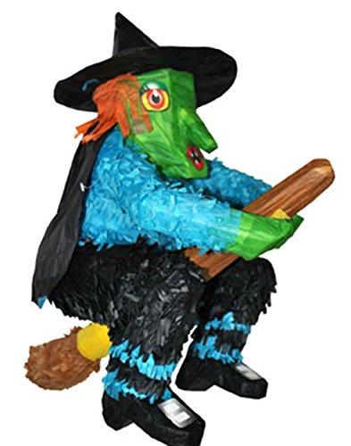 Confettery - Piñata Hexe auf Besen Halloween Party Dekoration Pinata Füllung, 48x45cm, Mehrfarbig