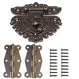 84MM Antique Bronze Prägung Latch Hasp (für Lock) mit 50MM Messing Scharniere und Schrauben für Holz Schmuck Box Kabinett Dekorative