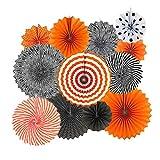 NUOBESTY Halloween Papier Bloemen Fan Party Opknoping Papier Fans voor Festival Verjaardag Decoratie Levert 12 stks