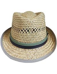 Cappello di Paglia 100% Leggero Modello Jonathan Alpino Unisex con Fascia e  Bordo Verde ( 2720259a1d4f