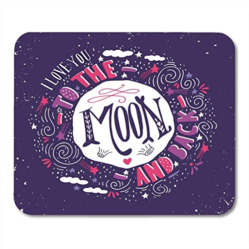pad-Matte, I Love You to The Moon and Back Quote Vintage with Stars and Lettering This for Wedding Valentine's Day Mouse Pad,Desktop Computers ()