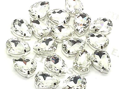 Eimass exquisite Glas-Kristalle zum Aufkleben oder Aufbügeln, Swarovski-Alternative, mit Glas-Rückseite, in silberner Einfassung, Clear Crystal Teardrop, 18 x 25mm (Teardrops Crystal)