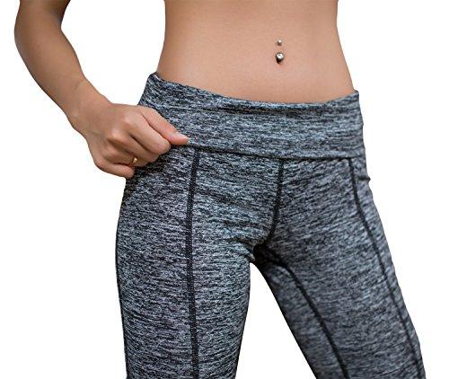 Mme pants pantalon de jogging de mode de yoga et une salle de sport transversale creuse la conception d'armure Gris