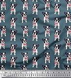 Soimoi Blau Baumwolle Ente Stoff Bogen und Boston-Terrier