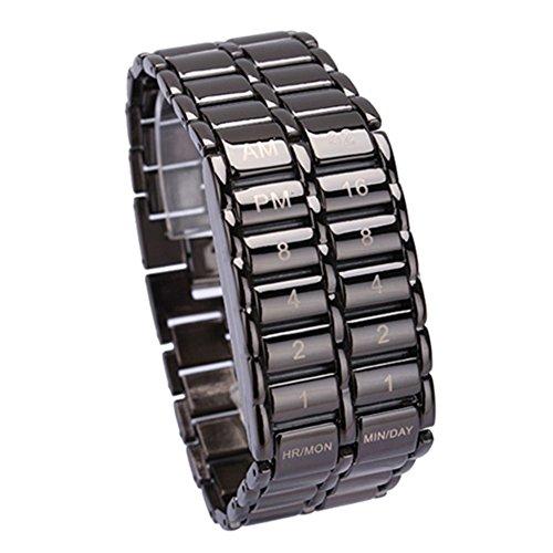 Cutowin - Reloj de pulsera de cuarzo digital con LED binario para hombre, diseño de día del padre, regalo creativo, negr