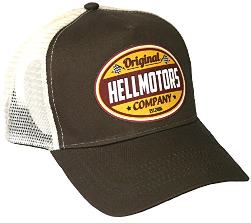 Trucker Cap Hellmotors gelb V8 Old School Hot Rod Cappy Basecap Biker Mütze braun -