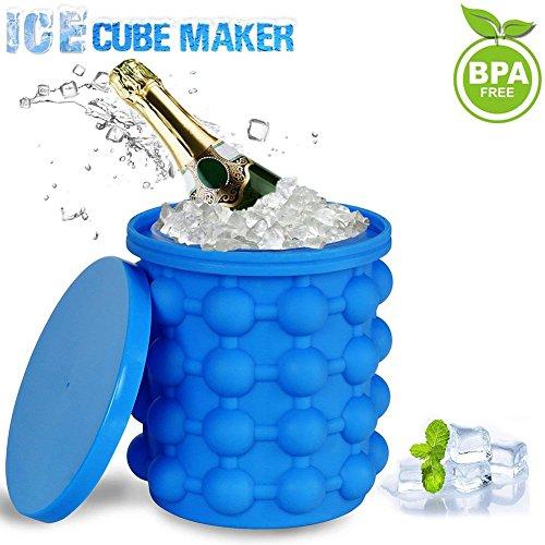 Ice Cube Maker, Silikon Eiseimer mit Deckel Platzsparende Genie Eiswürfelbereiter Blau Eiswürfel GefäßKühler für Whiskey, Cocktail und Jedes Getränk BBQ, EiswüRfelbehäLter BPA-Frei - GoodGoodday - Kühlschränke Ice Mit Maker