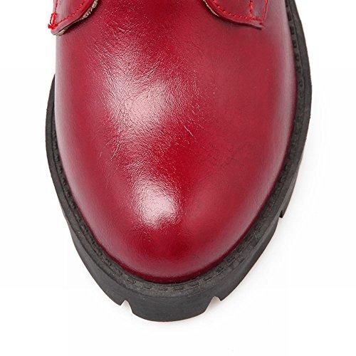Mee Shoes Damen Nieten Schnürsenkel halbschaft Plateau Stiefel Weinrot