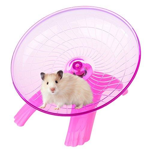 Petacc Laufteller Laufrad für Hamster Chinchilla Degu Hamster Laufrad Leise mit Edelstahl Kugellager und Formschön Kantengestaltung (Pink)