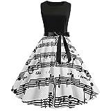 WUDUBE Note de Musique imprimée Robe ❤ Mode sans Manches Col Rond Femmes Vintage Eté Robes de soirée...