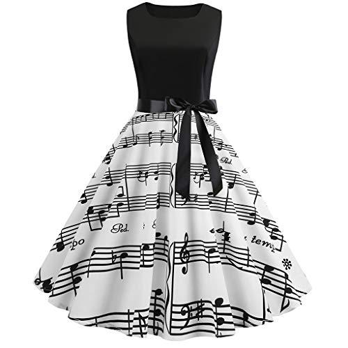 VJGOAL Damen Kleid, Frau Vintage Retro Hepburn Style Notes Druck Bodycon Sleeveless Abendgesellschaft Prom Swing Kleid Geschenke (M, 1-Schwarz)