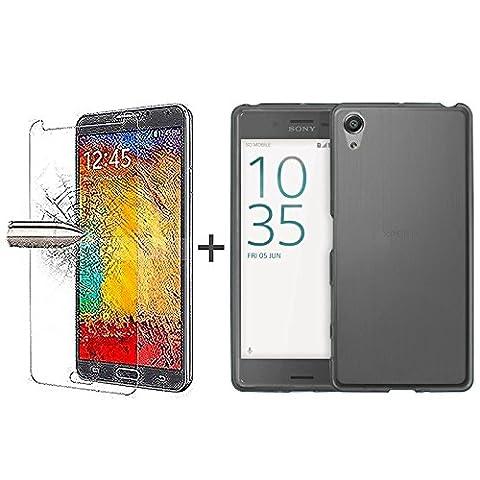 TBOC® Pack: Coque Gel TPU Noir + Protecteur d'écran en Verre Trempé pour Sony Xperia XA (F3111-F3113-F3115) (5.0 Pouces) - Sony Xperia XA Dual (F3112-F3116) (5.0 Pouces) - Silicone Souple Ultra Mince Étui Housse. Protecteur d'écran résistant aux chocs, aux rayures et à l'abrasion. (Il est pas compatible avec Sony Xperia XA Ultra – XA Ultra Dual 6.0 Pouces)