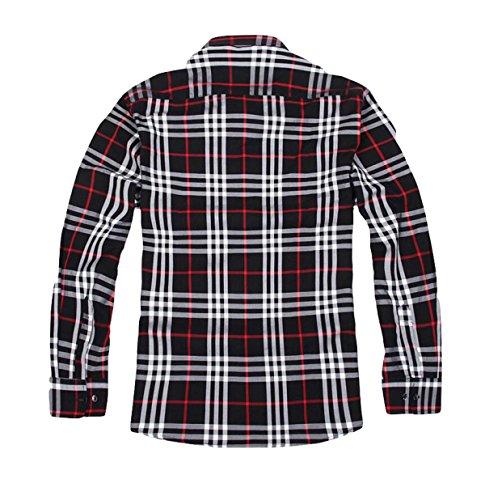 Größe Männer Baumwolle Mit Langen Ärmeln Kariertes Hemd Hemd Hemd Frühling Und Herbst Lose Red