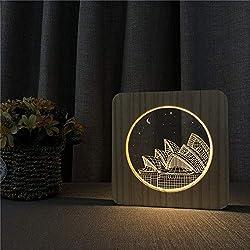 Sydney Opera House Holz Nachtlicht Tischlampe Schalter Steuerung Gravur Licht für Geschenke von Freunden