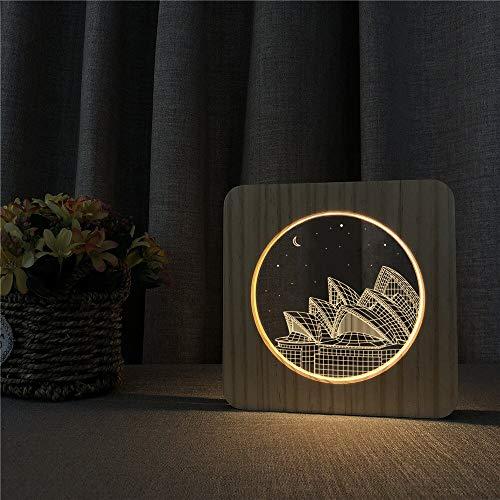 Sydney Opera House Acryl Holz Nachtlichter Tischlampe Schalter Steuerung Gravur Lichter für Freunde Geschenke