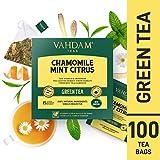 VAHDAM, Kamille Minze Citrus Grüner Tee, 100 Count | Koffeinarmer & Schlafenszeit Tee | 100% natürliche Detox Kamille Teebeutel für die Nacht | Grüner Tee Beutel 100 Count | Heiß oder Gefroren