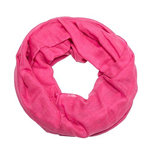 ManuMar Loop-Schal einfarbig | Hals-Tuch in Uni-Farben | einfarbig Pink als perfektes Sommer-Accessoire | klassischer Damen-Schal - Das ideale Geschenk für Frauen