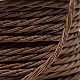 2 Meters 3 Core Brown Cable Vintage Antique Braided Twisted Fabric Lighting Cable Woven Silk Flexible Wire Cord Light