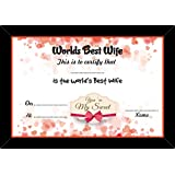 Valentine Day | Worlds Best Wife Valentine Gift Certificate, Unique Greeting Cards, Gift For Girlfriend, Gift For Wife-– Certificate With Frame
