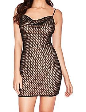 Mujer Verano Malla Splicing Mini Vestidos de Partido Coctel Fiesta Sexy Tirantes Sin Respaldo Bodycon Lápiz Vestido...