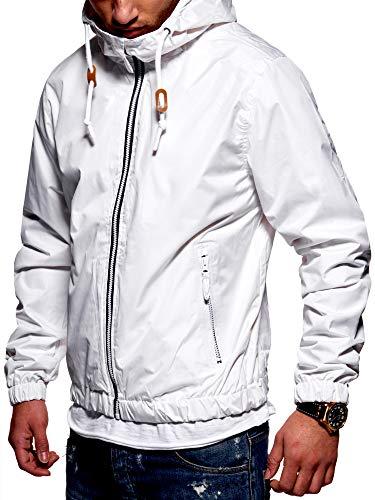 Rello & Reese Herren Basic Jacke Windbreaker wasserabweisend Regenjacke Übergangsjacke [Weiß, XL]