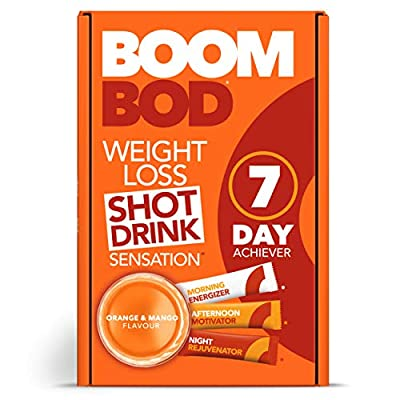 Boombod Weight Loss Shot Drink, Glucomannan, High Potency, Diet and Exercise Enhancement, Promote Fat Loss, Keto and Vegan Friendly, Sugar and Aspartame Free, Gluten-Free - Orange Mango Flavour