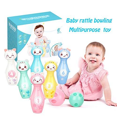 Cokeymove Juego de Bolos para niños con 6 Bolos de Cabeza de Animal y 2 Bolas de boliche, Regalos de Juguete de Desarrollo temprano para niños pequeños, Juego de Bolos para niños