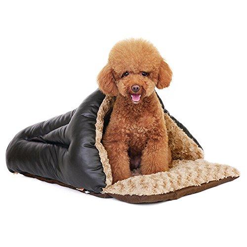 Bwiv Pet Letto Antiscivolo Sacco a Pelo Dog House Cat Bed Tunnel 3 Way Inverno Estate Dual-Use A S