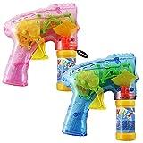 COM-FOUR® 2er Set LED Seifenblasen Pistole Bubble Gun Mitgebsel Kindergeburtstag