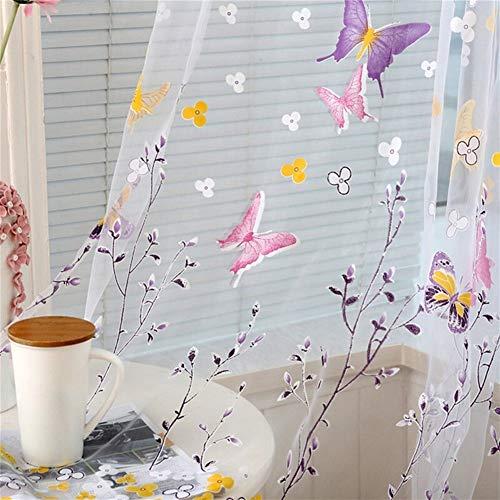 Ruixinde Schmetterlingsniederlassungen Druckten Tüllvorhänge for Wohnzimmer-Innenfenster-Dekor-Balkon-Burnout-Voile-Vorhänge (Color : Grün, Größe : 100 x 200 cm)