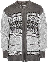 97ab6074 Mens Classic Style Cardigan Argyle Diamond Pattern & Plain Casual Design  Zip Up Thick Knit Warm