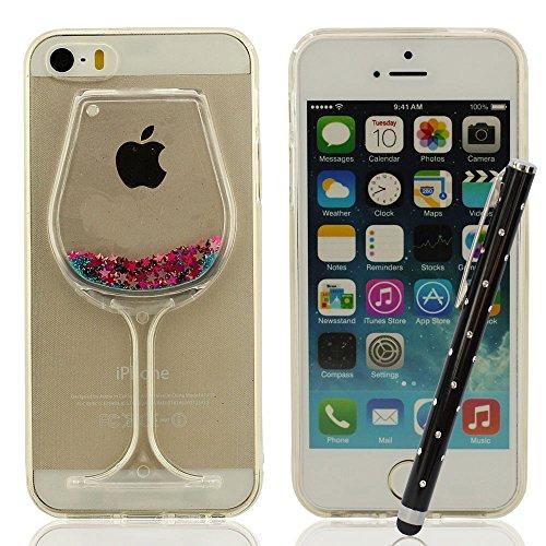 Silicone Coque iPhone 5, Coque iPhone 5S, Coque iPhone 5C, Souple Soft Case Cover Bumper Anti choc Protection pour iPhone 5 5S 5C 5G + Joli Stylet, Jaune vif 3D Banane Forme [Perfect Fit] Bleu