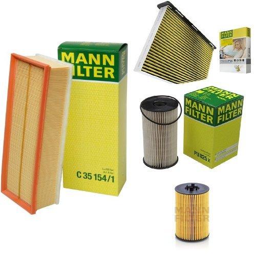Mann-Filter Service Paket mit 1x Luftfilter C35154/1, 1x Freciousplus Innenraumfilter FP2939, 1x Kraftstofffilter PU825X, 1x Ölfilter HU7020Z