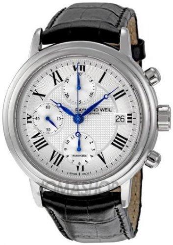 Raymond Weil Maestro - Reloj (Reloj de pulsera, Masculino, Acero inoxidable, Acero inoxidable, Cuero, Negro)