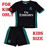 Shamyaan Real Madrid Away Black Jersey Kit For Kids - Youth Sizes For Boys & Girls - New Latest Season 2017 - 2018 Real Madrid LaLiga League - Replica Design - Support Your Real Madrid Heroes Ronaldo, Bele, Benzama, Marcelo, Asensio, Isco, Ramos