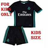 #8: Shamyaan Real Madrid Away Black Jersey kit for Kids - Youth Sizes for Boys & Girls - New Latest Season 2017 - 2018 Real Madrid LaLiga League - Replica Design - Support your Real Madrid Heroes Ronaldo, Bele, Benzama, Marcelo, Asensio, Isco, Ramos