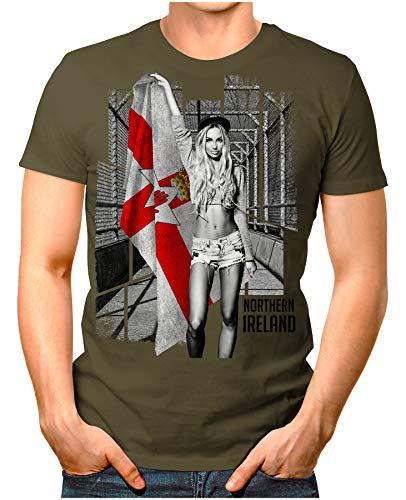 OM3® - Northern-Ireland-Soccer-Girl - Herren T-Shirt EM 2020 Fußball Trikot Sexy Frau Nordirland Vintage Oliv XXL
