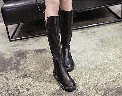 Stivali alti del ginocchio Stivali piatti Cavaliere Stivali Donne Bello Round Toe Zipper Cowboy Stivali Dress Boots Dimensione Eu 34-40 Black