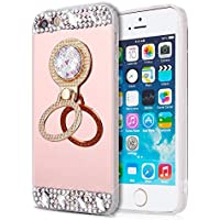 EINFFHO iPhone 5 Móvil, iPhone 5S Móvil, iPhone se Espejo Funda, Cristal Strass Diamante Bling Brillante Espejo Móvil para Apple iPhone 5 5S se