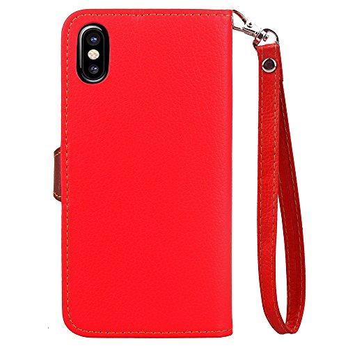 EKINHUI Case Cover Blatt-Art-magnetische Wölbung PU-lederner Mappen-Beutel-Kasten-Abdeckung mit horizontaler Schlag-Standplatz-Funktion u. Tragender Handbügel [Lanyard] für IPhone X ( Color : Green ) Red