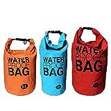 3 Wasserdichte Schultertaschen Trockentasche Survivial Bag Trockensack Rucksack mit Tragegurt von Kurtzy - Set aus 5, 10 und 15 Liter Seesack Wasserdichte Taschen mit Roll-Top und Verschluss