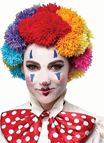 Fancy Me Damen Herren Regenbogen Bommel Clown Perücke Pride Karneval Kostüm Outfit Zubehör